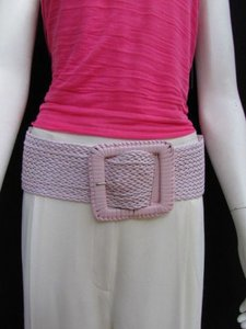 Other Women Hip Waist Elastic Light Pink Braided Wide Fashion Belt Plus 33-48 M-2xl