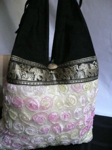 Other Women Black Yellow Flowers Evening Roses Handmade Thiland Hobo Bag