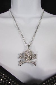 Other Women Silver Metal Chains Skeleton Skull Bones Fashion Necklace Rhinestones