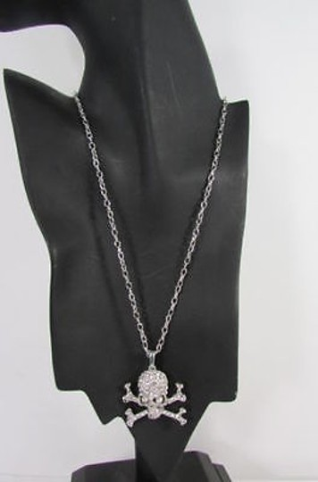 Other Women Silver Metal Chains Skeleton Skull Necklace Rhinestones