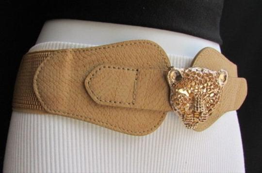 Other Women Hip Waist Gold Metal Tiger Head Buckle Beige Fashion Belt 26-35