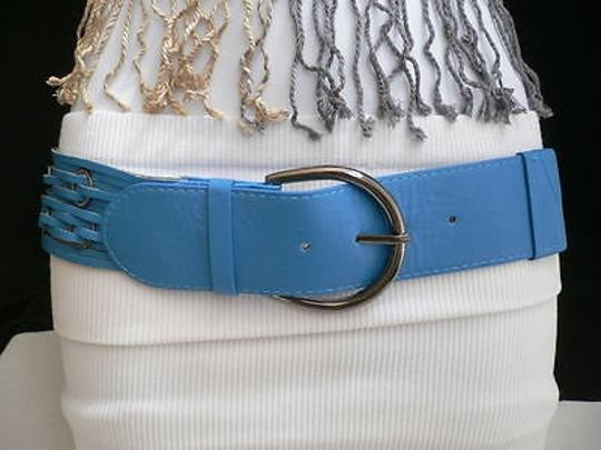 Other Women Blue Wide Metal Rings High Waist Faux Leather Belt