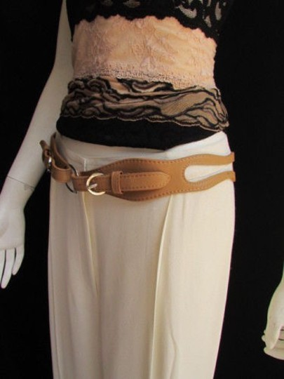 Other Women High Waist Hip Beige Faux Leather Cut Out Fashion Belt Rings 32-36