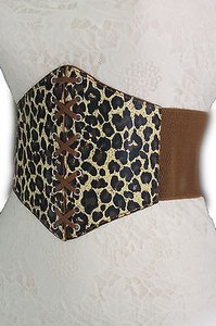 Women Hip Waist Mocha Leopard Print Elastic Wide Corset Fashion Belt