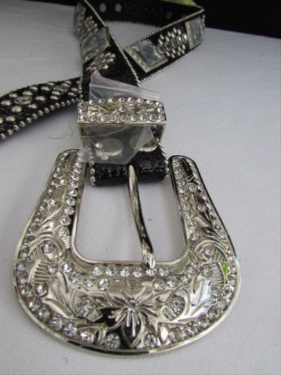 Other Women Black Leather Western Rodeo Mult Mirrors Belt Silver Buckle 29-34
