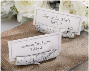 Birch Log Placecard Holders