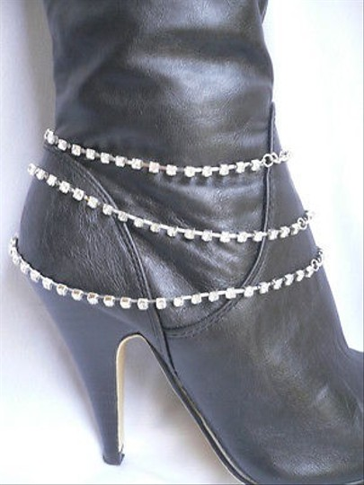 Unbranded Women Silver Chain Boot Rhinestones Strands Western Shoes Charm