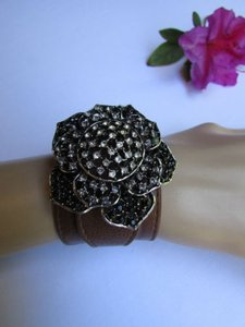 Women Silver Big Flowers Fashion Brown Faux Leather Bracelet Rhinestones