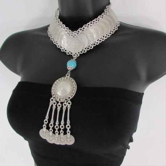 Other Women Long Silver Metal Chains Fashion Choker Necklace Turquoise Ball