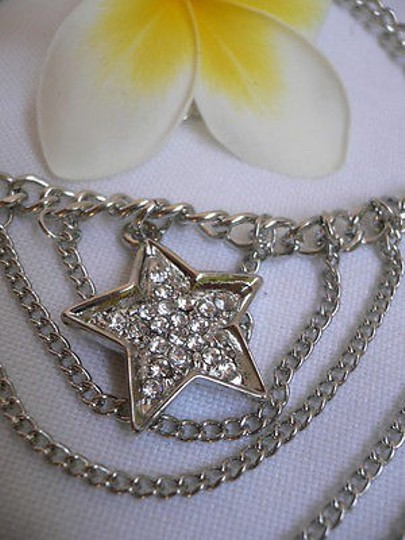 Other Women Silver Multi Chains Boot Strap Star Rhinestones