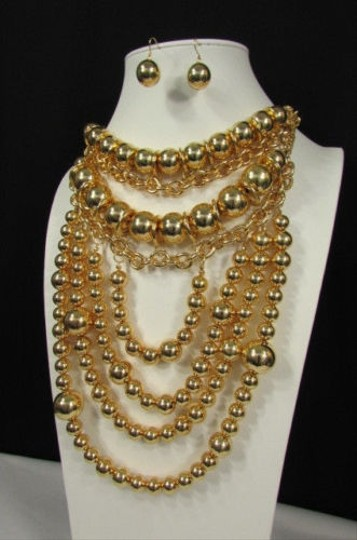 Other Women Gold Metal Fashion Necklace Multi Big Disco Balls Thick 15 Drop Long