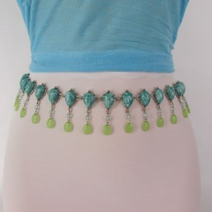 Other Women Silver Metal Fashion Thin Belt Blue Pink Beads