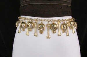 Women Gold Metal Chains Skulls Bones Hip Waist Fashion Belt 20-34