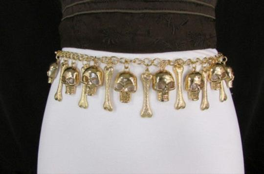 Other Women Gold Metal Chains Skulls Bones Hip Waist Fashion Belt 20-34