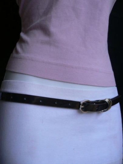 Other Women Hip Waist Thin Brown Fashion Belt Silver Rings Buckle 27-36