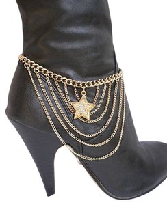 Women Gold Anklet Chains Boot Bracelet Strap Star Silver Rhinestones Shoes Charm
