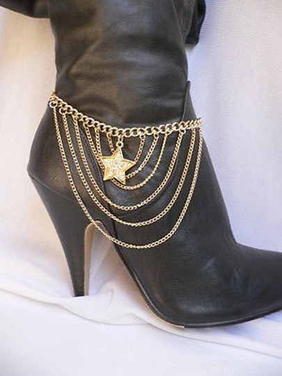 Other Women Gold Anklet Chains Boot Strap Star Silver Rhinestones Charm