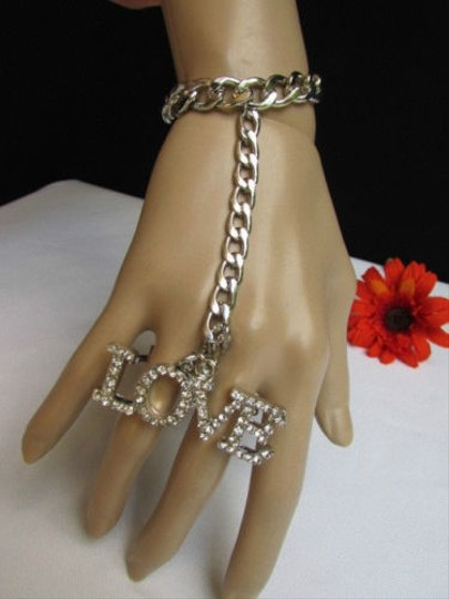 Other Women Silver Metal Hand Chain Love Rhinestones Slave Bracelet Long Ring