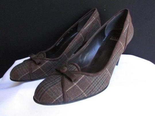 Stuart Weitzman Women Dark Plaids Fabric Bow Mid High Heels Browns Pumps
