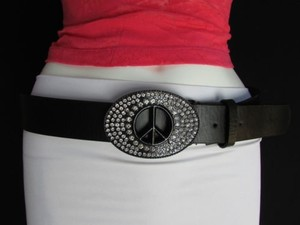 Other Women Black Faux Leather Fashion Belt Peace Sign Rhinestones Buckle 35-40 Lxl