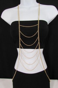 Other Women Gold Multi Metal Waves Body Chain Long Necklace Trendy Fashion Jewelry