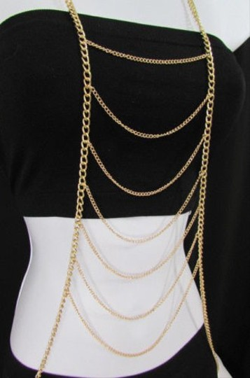 Other Women Gold Multi Metal Waves Body Chain Trendy Fashion Jewelry