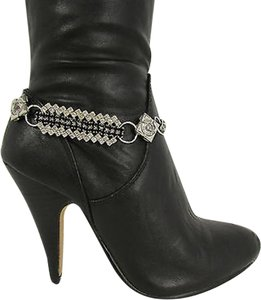 Unbranded Women Fashion Boot Chain Bracelet Strap Silver Metal Shoe Charm Black Rhinestone