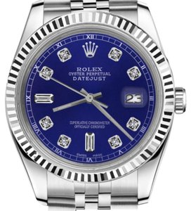 Rolex Man`s 26mm Datejust Blue Color Dial with 8+2 Diamond Accent Watch