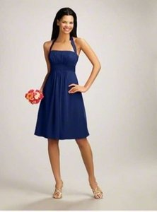 Alfred Angelo Navy Chiffon & Silk 7016s Formal Bridesmaid/Mob Dress Size 6 (S)