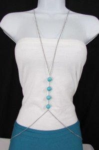 Other Women Silver Body Chain Long Necklace Big Turquoise Balls Fashion Jewelry