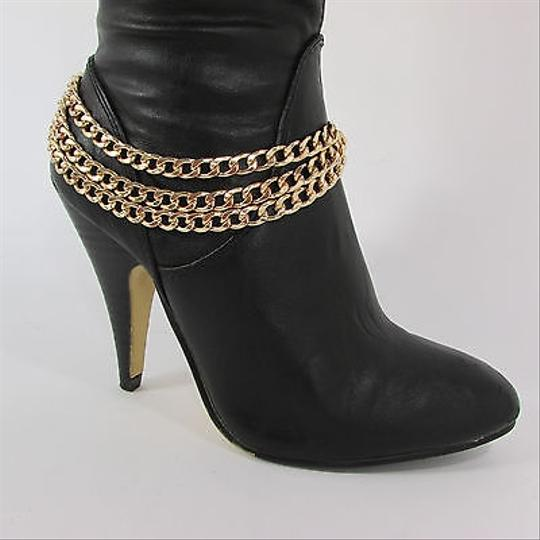 Other Women Fashion Boot Chains Bracelet Strap 3 Gold Metal Chunky Strands Shoe Charm