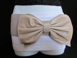 Other Women Hip Waist Elastic Taupe Beige Wide Fashion Belt Huge Bow 27-35
