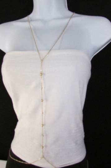 Other Women Gold Metal Balls Thin Body Chain Necklace Jewelry