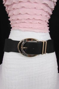 Other N. Women Elastic Faux Leather Fashion Belt Hip Waist Black Beige Big Gold Buckle