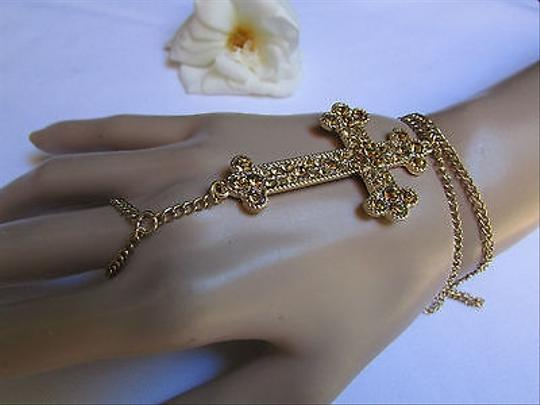 Other Women Gold Metal Thin Hand Chain Big Cross Rhinestones Slave Bracelet Ring