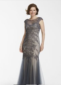 Cachet Charcoal Tulle Trumpet Gown Dress