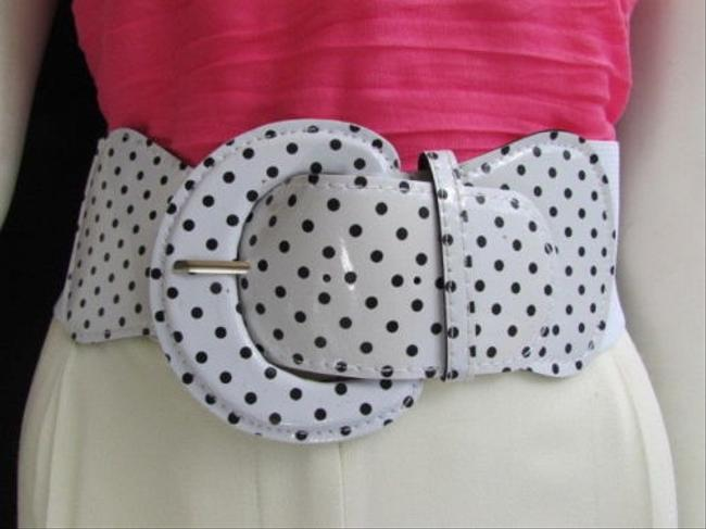 N. Women Hip Waist Elastic White Fashion Belt Black Polka Dots 32-45 N. Women Hip Waist Elastic White Fashion Belt Black Polka Dots 32-45 Image 1