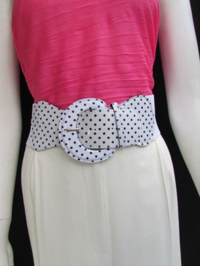 Other N. Women Hip Waist Elastic White Fashion Belt Black Polka Dots 32-45