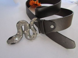 Other Women Brown Faux Leather Fashion Belt Big Snake Rhinestone Buckle 36-40 Lxl