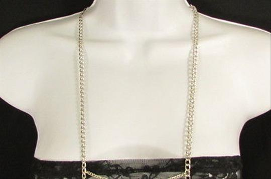 Other Women Silver Metal Wave Body Chain Long Necklace Party Style