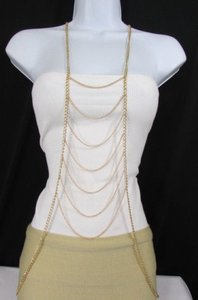 Women Gold Metal Body Chain Long Necklace Classic Waves Fashion Jewelry