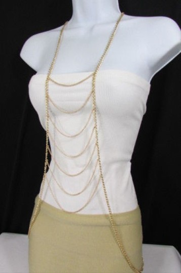 Other Women Gold Metal Body Chain Long Necklace Fashion Jewelry