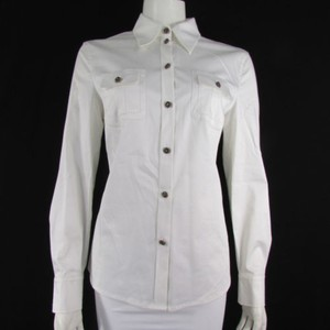 Escada Women Cotton Classic Fashion Button Up Long Sleeves 38 Top White
