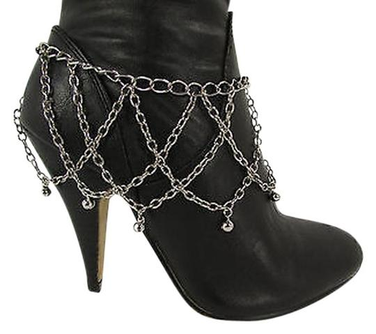 Other Women Boot Chain Bracelet Silver Waves Strap Metal Bells Shoe Charms