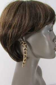 Women Gold Metal Leopard Nail Fashion Long Earrings Animal Print Rhinestones