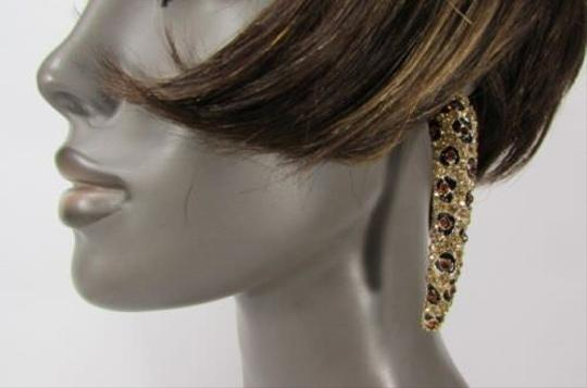 Other Women Gold Leopard Nail Long Earrings Animal Print Rhinestones