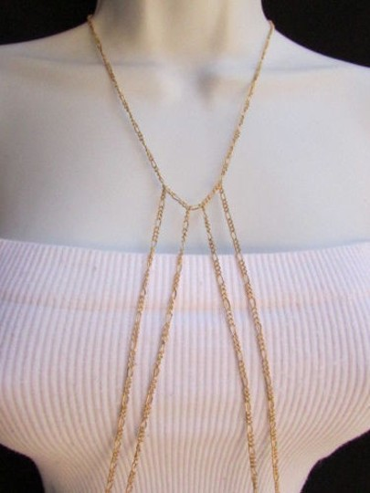 Other Women Thin Gold Metal Wave Hips Body Chain Necklace Fashion Jewelry