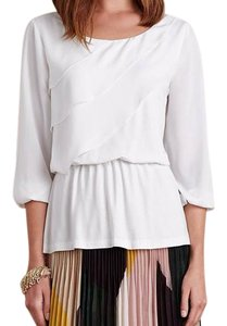 Anthropologie Ruffle Drape Pullover Breezy Top Ivory