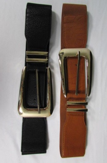 Other Women Elastic Faux Leather Fashion Belt Hip Waist Black Brown Long Gold Buckle