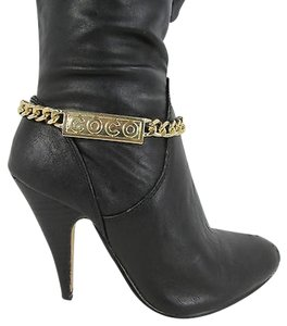 Other Women Fashion Boots Chain Bracelet Strap Gold Metal Coco Shoe Charm